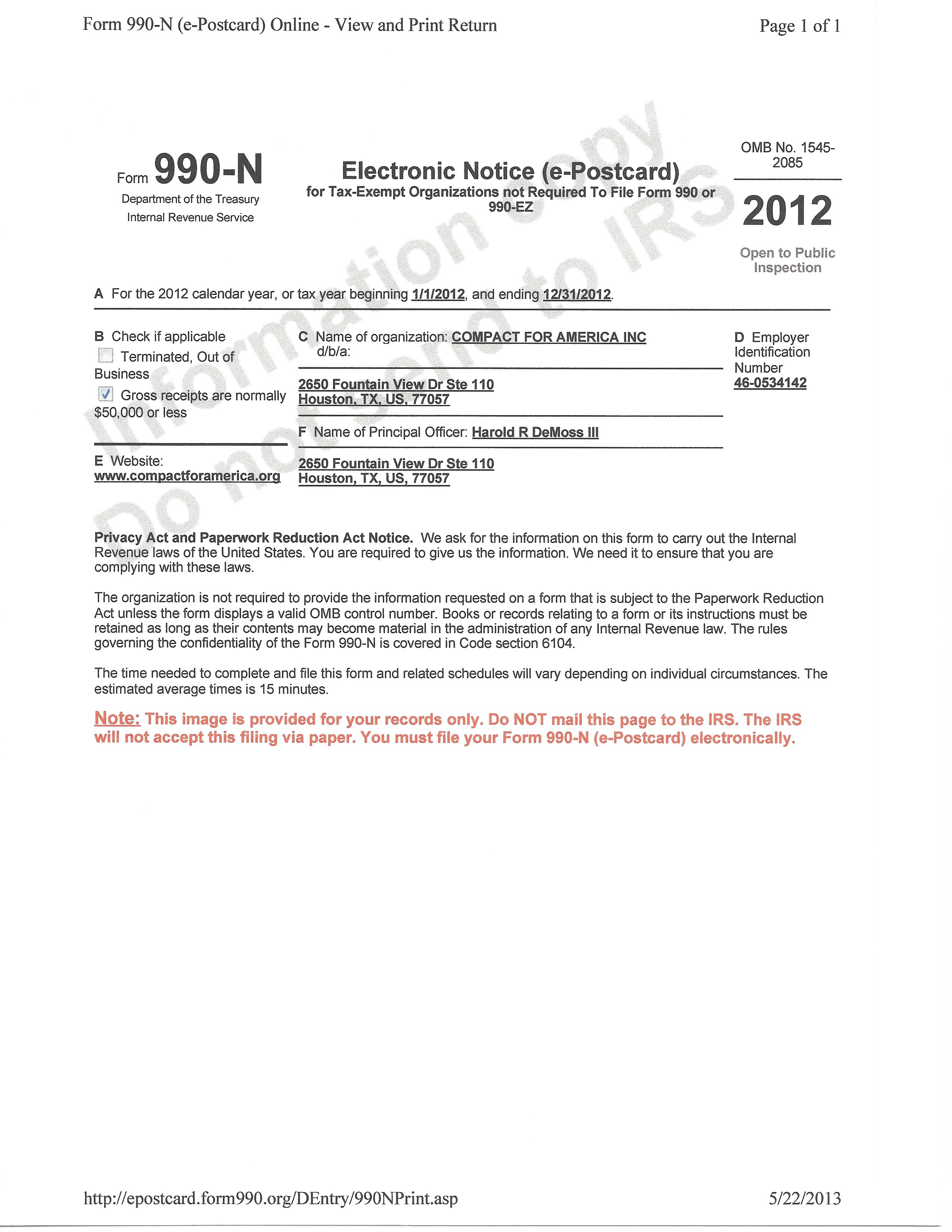 Cfa2012g form 990 n is used exclusively by tax exempt organizations not required under irs regulations to falaconquin
